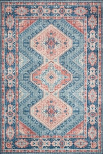 Turquoise, Terracotta Skye Printed SKY-03 Traditional / Oriental Area Rugs