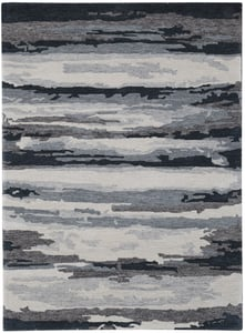 Grey, Charcoal, Blue (ABS-6) Abstract Hammond Contemporary / Modern Area Rugs