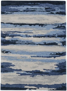 Navy, Blue, Ivory (ABS-7) Abstract Hammond Contemporary / Modern Area Rugs