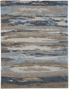 Beige, Grey, Blue (ABS-5) Abstract Hammond Contemporary / Modern Area Rugs