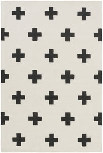 White, Black (HDA-2390) Hilda Monica Contemporary / Modern Area Rugs