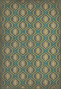 Distressed Teal, Distressed Gold - Atlantis Classic Vintage Vinyl Pattern 15 Contemporary / Modern Area Rugs