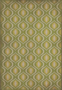 Muted Green, Antiqued Ivory - Eye of Newt Classic Vintage Vinyl Pattern 15 Contemporary / Modern Area Rugs