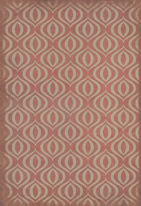 Distressed Red, Antiqued Ivory - Genie Classic Vintage Vinyl Pattern 15 Contemporary / Modern Area Rugs