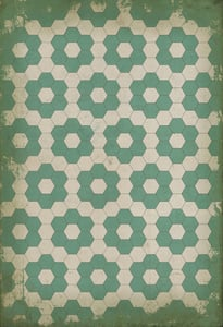 Distressed Ivory, Distressed Green - Water Lilies Classic Vintage Vinyl Pattern 02 Floral / Botanical Area Rugs