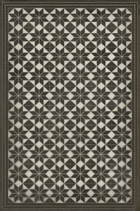 Distressed Black, Antiqued Ivory - Stargazer Classic Vintage Vinyl Pattern 20 Contemporary / Modern Area Rugs