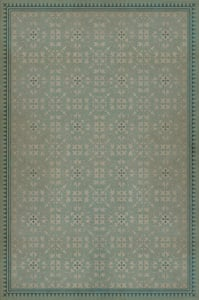 Muted Teal, Antiqued Ivory - Alice in Wonderland Classic Vintage Vinyl Pattern 21 Contemporary / Modern Area Rugs