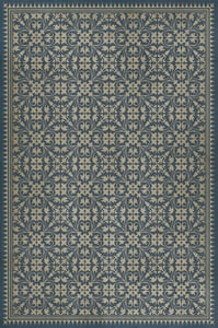 Distressed Navy, Antiqued Ivory - Bandersnatch Classic Vintage Vinyl Pattern 21 Contemporary / Modern Area Rugs
