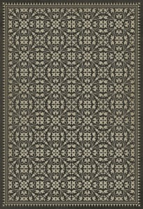 Muted Black, Antiqued Ivory - By Hook or by Crook Classic Vintage Vinyl Pattern 21 Contemporary / Modern Area Rugs