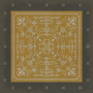 Antiqued Gold, Distressed Black - Alexander Classic Vintage Vinyl Pattern 22 Contemporary / Modern Area Rugs