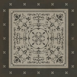 Distressed Black, Antiqued Ivory - Atticus Classic Vintage Vinyl Pattern 22 Contemporary / Modern Area Rugs