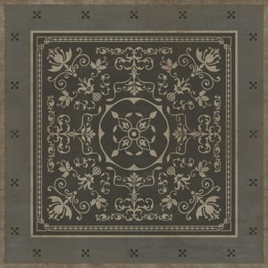 Distressed Grey, Antiqued Ivory - Constantine Classic Vintage Vinyl Pattern 22 Contemporary / Modern Area Rugs