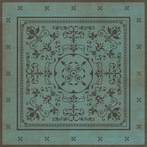 Distressed Teal, Distressed Grey - Plato Classic Vintage Vinyl Pattern 22 Contemporary / Modern Area Rugs