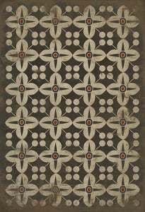 Distressed Black, Antiqued Ivory, Soft Brown - Oz Classic Vintage Vinyl Pattern 03 Contemporary / Modern Area Rugs