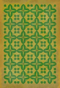 Muted Gold, Green - Follow the Yellow Brick Road Classic Vintage Vinyl Pattern 03 Contemporary / Modern Area Rugs