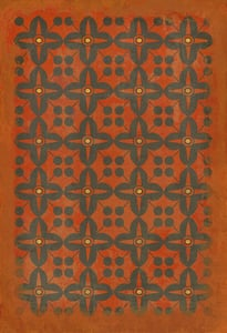 Distressed Orange, Soft Red, Muted Black - Red Rum Classic Vintage Vinyl Pattern 03 Contemporary / Modern Area Rugs