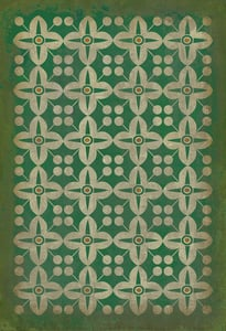 Distressed Green, Warm Ivory - The Emerald City Classic Vintage Vinyl Pattern 03 Contemporary / Modern Area Rugs