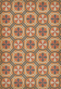 Muted Orange, Grey, Antiqued Ivory - Faraday Classic Vintage Vinyl Pattern 19 Contemporary / Modern Area Rugs