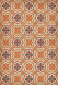 Muted Orange, Antiqued Ivory, Grey - Galileo Classic Vintage Vinyl Pattern 19 Contemporary / Modern Area Rugs