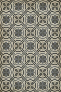Distressed Grey, Warm Ivory - Madame Curie Classic Vintage Vinyl Pattern 19 Contemporary / Modern Area Rugs