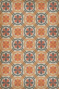 Antiqued Ivory, Orange, Grey - Newton Classic Vintage Vinyl Pattern 19 Contemporary / Modern Area Rugs