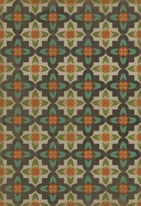 Distressed Cream, Green, Orange - Annas Garden Classic Vintage Vinyl Pattern 33 Contemporary / Modern Area Rugs