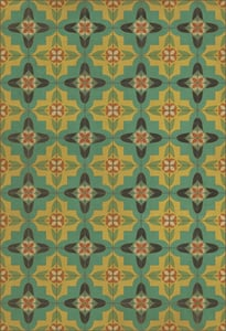 Distressed Teal, Antiqued Gold, Green - Ballyhoo Classic Vintage Vinyl Pattern 33 Contemporary / Modern Area Rugs