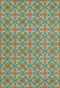 Antiqued Ivory, Teal, Orange - Dutch Classic Vintage Vinyl Pattern 33 Contemporary / Modern Area Rugs