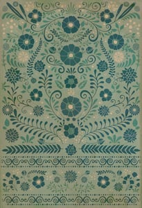 Muted Green, Soft Ivory - Few Flowers at His Feet Classic Vintage Vinyl Pattern 36 Floral / Botanical Area Rugs