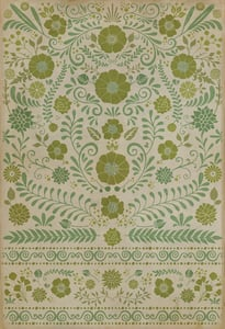 Distressed Ivory, Green - A Little Hope Classic Vintage Vinyl Pattern 36 Floral / Botanical Area Rugs