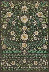 Distressed Black, Green, Ivory - Always and Always Classic Vintage Vinyl Pattern 36 Floral / Botanical Area Rugs