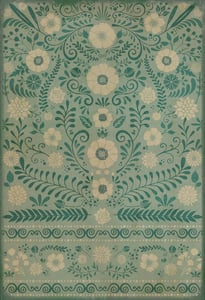 Muted Teal, Antiqued Ivory - Breathe Classic Vintage Vinyl Pattern 36 Floral / Botanical Area Rugs