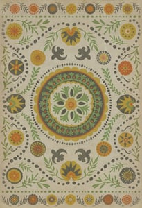 Distressed Ivory, Green, Mustard - Autumn Classic Vintage Vinyl Pattern 38 Floral / Botanical Area Rugs