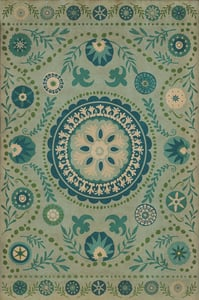 Distressed Blue, Antiqued Ivory - Boho Classic Vintage Vinyl Pattern 38 Floral / Botanical Area Rugs