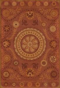 Muted Red, Distressed Orange - Crimson Classic Vintage Vinyl Pattern 38 Floral / Botanical Area Rugs