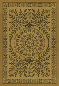 Antiqued Gold, Distressed Black - Alhambra Classic Vintage Vinyl Pattern 40 Contemporary / Modern Area Rugs