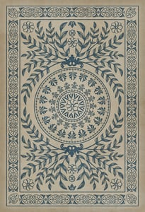 Antiqued Ivory, Muted Navy - Isola Bella Classic Vintage Vinyl Pattern 40 Contemporary / Modern Area Rugs