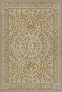 Antiqued Ivory, Distressed Gold - Versailles Classic Vintage Vinyl Pattern 40 Contemporary / Modern Area Rugs
