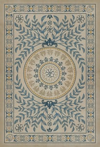 Antiqued Ivory, Muted Blue, Gold - Villa dEste Classic Vintage Vinyl Pattern 40 Contemporary / Modern Area Rugs