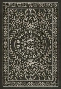 Distressed Black, Antiqued Ivory - Villa Lante Classic Vintage Vinyl Pattern 40 Contemporary / Modern Area Rugs