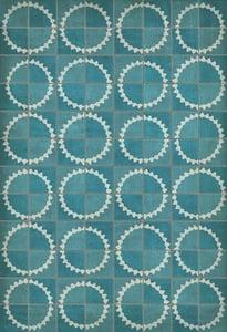 Distressed Blue, Soft Ivory - Stellar Classic Vintage Vinyl Pattern 46 Contemporary / Modern Area Rugs
