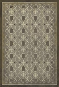 Distressed Grey, Antiqued Ivory - Baker Street Classic Vintage Vinyl Pattern 05 Contemporary / Modern Area Rugs