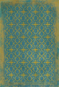 Muted Blue, Distressed Gold - Drookit Classic Vintage Vinyl Pattern 05 Contemporary / Modern Area Rugs