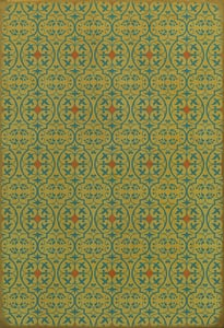 Distressed Green - A Little Madness in the Spring Classic Vintage Vinyl Pattern 51 Contemporary / Modern Area Rugs