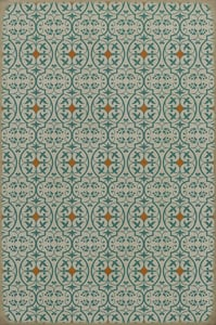 Distressed Ivory, Teal, Red - And I Love Her Classic Vintage Vinyl Pattern 51 Contemporary / Modern Area Rugs