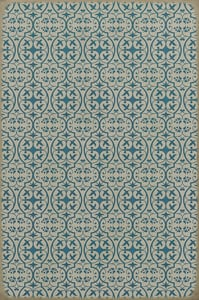 Antiqued Ivory, Blue - China Cup Classic Vintage Vinyl Pattern 51 Contemporary / Modern Area Rugs