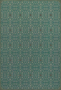Muted Teal, Antiqued Ivory - Echo in the Memory Classic Vintage Vinyl Pattern 51 Contemporary / Modern Area Rugs