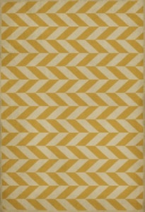Distressed Gold, Antiqued Ivory - Apollo Classic Vintage Vinyl Pattern 06 Chevron Area Rugs
