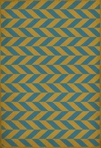 Distressed Gold, Soft Blue - Neptunus Classic Vintage Vinyl Pattern 06 Chevron Area Rugs