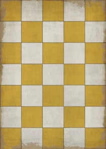 Distressed Gold, Antiqued Ivory - Check Yourself Classic Vintage Vinyl Pattern 07 Geometric Area Rugs